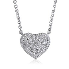 image of Violet and Sienna 14K White Gold .27 cttw Pave Diamond Small Heart Pendant