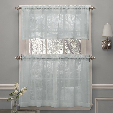 Buy crushed voile 36 inch window curtain tier pairs in spa from bed bath beyond for 36 inch bathroom window curtains