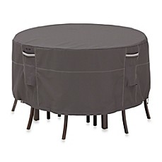 Image Of Clic Accessories Ravenna Round Patio Table And Chair Set Cover In Dark Taupe
