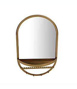 Espejo ovalado de pared con organizador de joyería Global Caravan™ en dorado