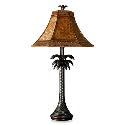 Coastal palm tree table lamp with rattan shade bed bath beyond coastal palm tree table lamp with rattan shade mozeypictures Images