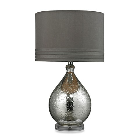Mercury Glass Table Lamp With Grey Taupe Faux Shade Bed