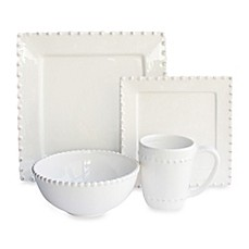 image of American Atelier Bianca Bead 16-Piece Square Dinnerware Set