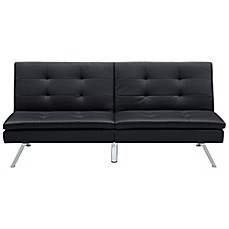 image of Chelsea Convertible Faux Leather Futon in Black