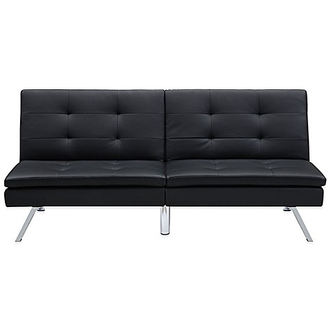 Chelsea Convertible Faux Leather Futon In Black Bed Bath