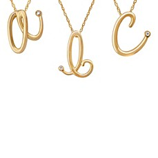 image of Violet and Sienna 14K Yellow Gold Plated Sterling Silver .01 cttw Diamond Letter Pendant