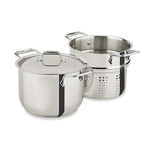 image of allclad stainless steel 6quart pasta pot with insert