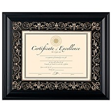 image of 85inch x 11inch deluxe document wood frame in florence black - Document Frames