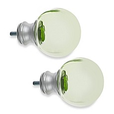 image of Cambria® My Room Ball Finial in Green Glass and Brushed Nickel (Set of 2)