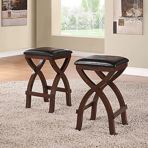 Verona Home Cross Base 24 Inch Counter Height Stools In