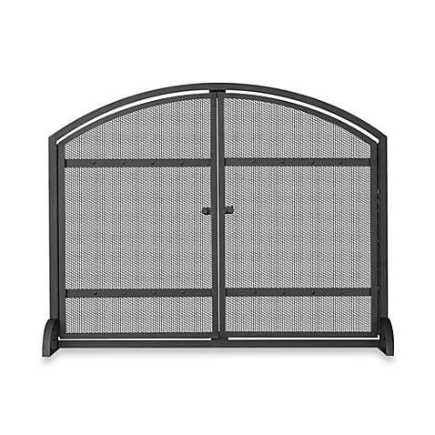 Uniflame Single Panel Iron Fireplace Screen In Black Bed Bath Beyond