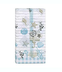 Toallas desechables de papel Farmhouse Shell en azul/blanco, 32 piezas