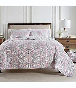 Set de colcha king Waverly® Moonlit reversible en rosa blush, 3 piezas