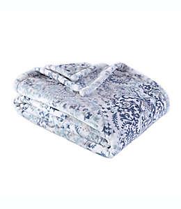 Frazada de poliéster Berkshire Blanket® Madeline Damask Ultra Velvet color azul