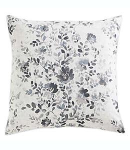 Funda para cojín decorativo cuadrado de algodón Morgan Home con diseño floral color gris