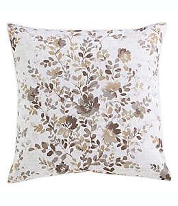Funda para cojín decorativo cuadrado de algodón Morgan Home con diseño floral color café pardo