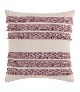 Funda cuadrada para cojín Morgan Home con flecos decorativos en rosa blush