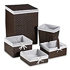 image of Redmon 5-Piece Hamper Set with White Liners in Espresso
