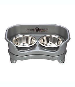 Alimentador doble Neater Pets® para mascota de polipropileno y tazones de acero inoxidable en gris