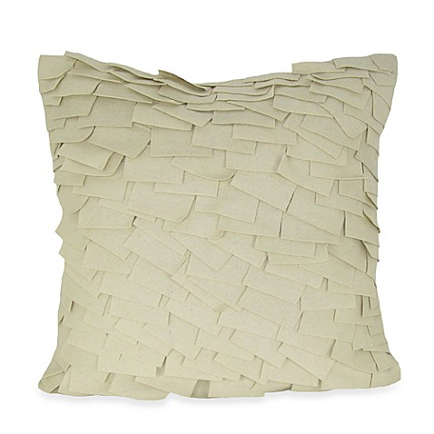 Buy Felt Ruffle Square Throw Pillow in Ivory from Bed Bath & Beyond