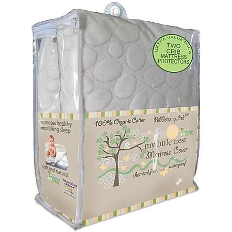Dreamtex My Little Nest Pebbletex Waterproof Organic Cotton Crib Mattress Pad Covers 2 Pack