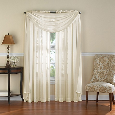 Venetian Stripe Rod Pocket Sheer Window Curtain Panel In
