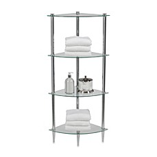 image of creative bath 4shelf glass corner tower in chrome