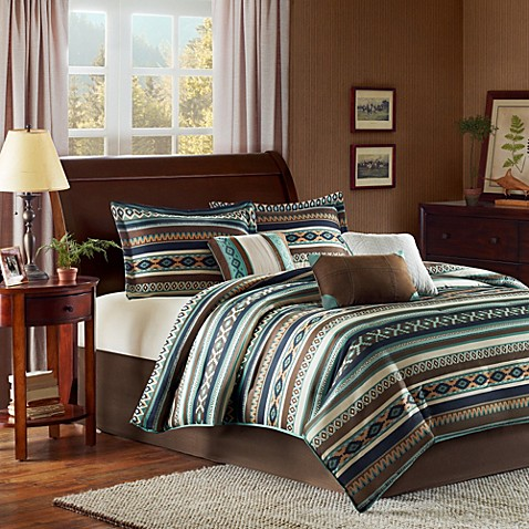 image of Madison Park Malone 7 Piece Comforter Set. Southwest Style Bedding   Bath   Southwest Curtains  Comforters