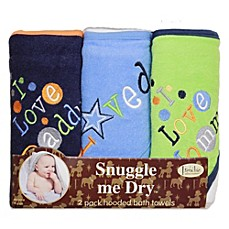image of Frenchie Mini Couture Boy's I Love Mommy/Daddy 3-Pack Terry Hooded Towels