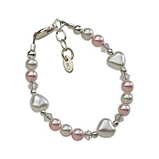 image of Cherished Moments Sweetheart Small Sterling Silver with Pink and White Pearls Bracelet