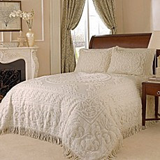 image of Medallion Chenille Bedspread in Ivory