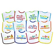 image of Neat Solutions® 12-Pack Baby's 1st Year Holiday Bib Set