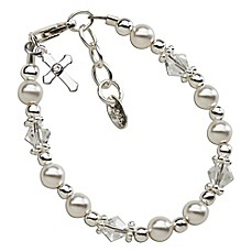 image of Cherished Moments Sterling Silver Christening Bracelet with Swarovski Pearls, Crystals and Cross
