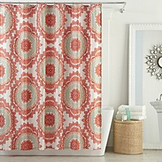 image of Anthology™ Bungalow Shower Curtain in Coral