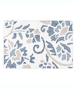 Tapete para baño de algodón Colordrift Bastille con diseño floral color aqua