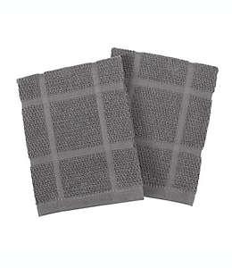 Toallas de cocina de algodón KitchenSmart Colors® lisa color grafito, Set de 2