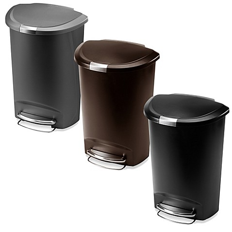 simplehuman® plastic semi-round 50-liter step-on trash can - bed