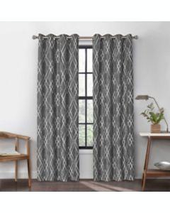 Cortina de algodón Atwood con ojales y filtro de luz 2.41 m color gris carbón