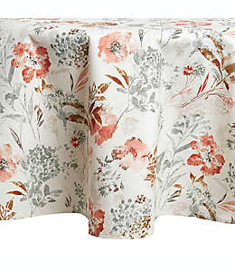 Mantel redondo para mesa plastificado con diseño floral