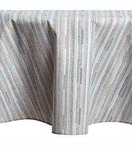 Mantel redondo de poliéster plastificado a rayas color azul