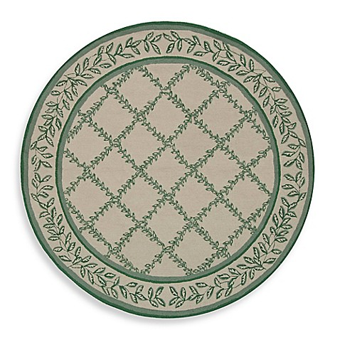 Safavieh Chelsea Wool 5-Foot 6-Inch Round Area Rug in Ivory and Light Green