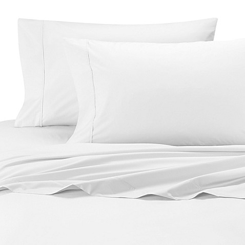buy wamsutta cool touch percale egyptian cotton olympic queen fitted sheet in white from bed. Black Bedroom Furniture Sets. Home Design Ideas