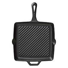 image of Camp Chef 11-Inch Pre-Seasoned Square Cast Iron Skillet with Ribs in Black