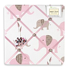 image of Sweet Jojo Designs Mod Elephant Fabric Memo Board in Pink/Taupe