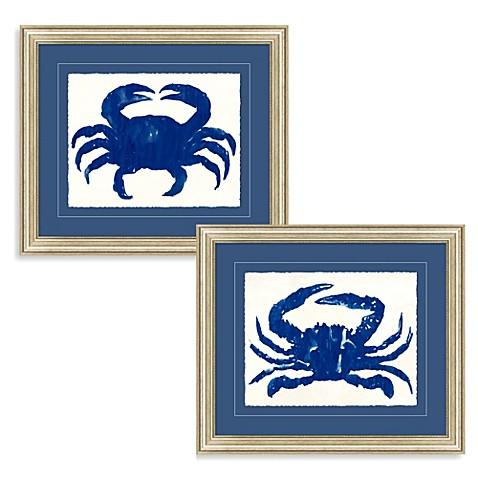 Blue crab framed wall art bed bath beyond for Blue wall art