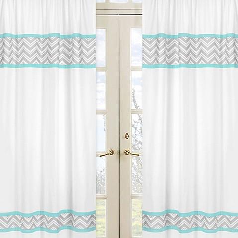 Sweet Jojo Designs Zig Zag Chevron Window Panel Pair In Turquoise Grey Bed Bath Beyond