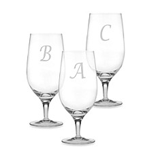 image of Susquehanna Glass Monogrammed Script Letter Iced Beverage (Set of 4)