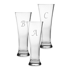 image of Susquehanna Glass Monogrammed Script Letter Pilsners (Set of 4)