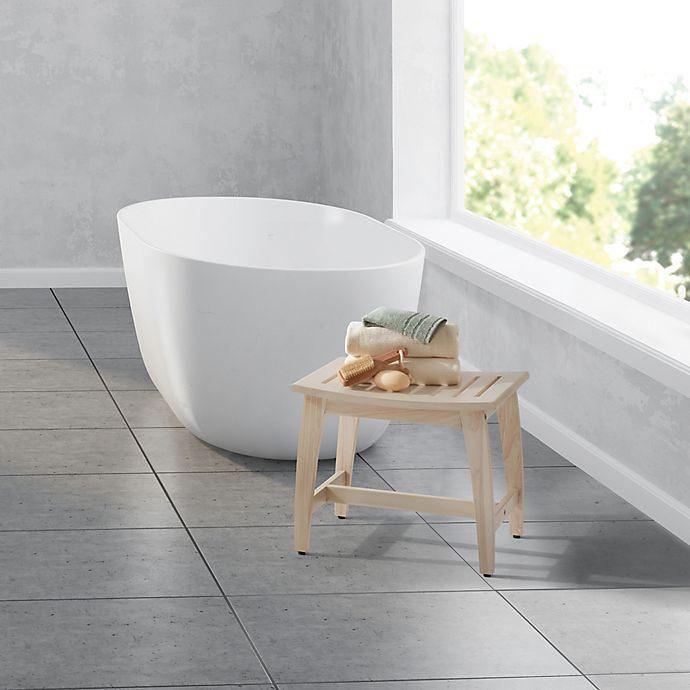 Haven Teak Wood Stool In Whitewash Bed Bath Beyond