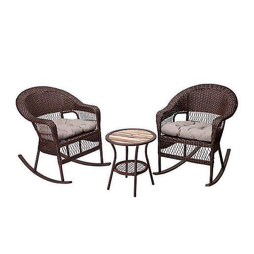 Peaktop 3 Piece Rocking Chairs Bistro, Peaktop 3 Piece Wicker Patio Set With Cushions